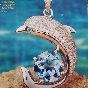 Blue topaz set in sterling  silver